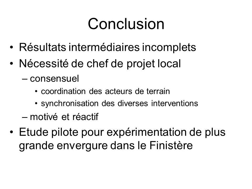 Conclusion Résultats intermédiaires incomplets