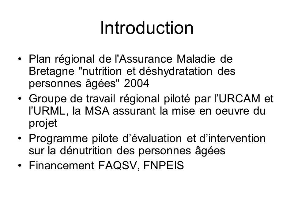 Introduction Plan régional de l Assurance Maladie de Bretagne nutrition et déshydratation des personnes âgées 2004.