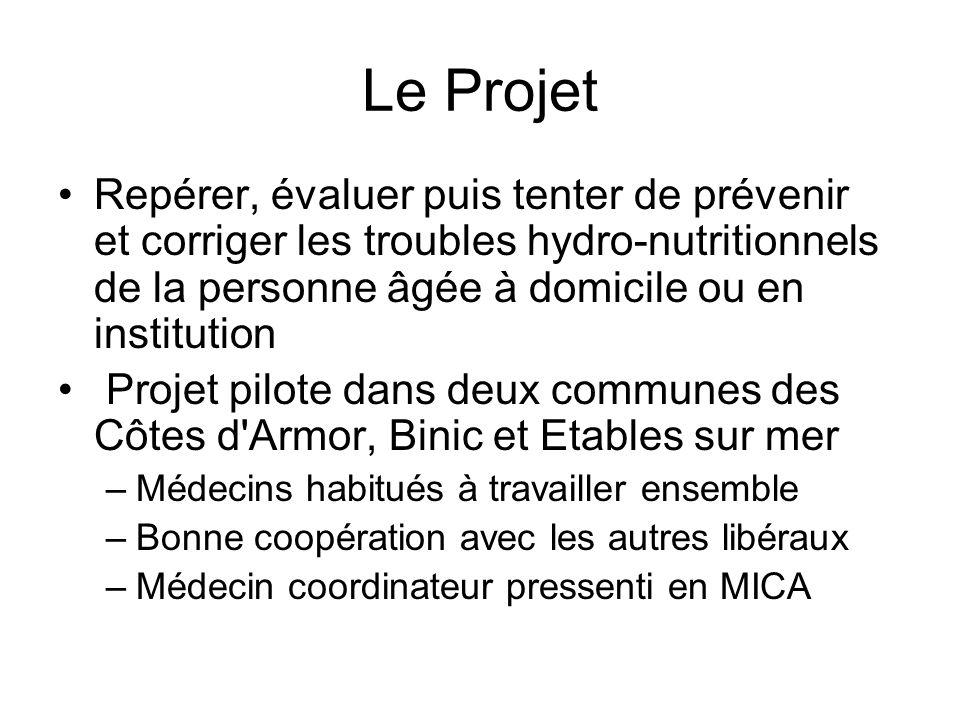 Le Projet Repérer, évaluer puis tenter de prévenir et corriger les troubles hydro-nutritionnels de la personne âgée à domicile ou en institution.