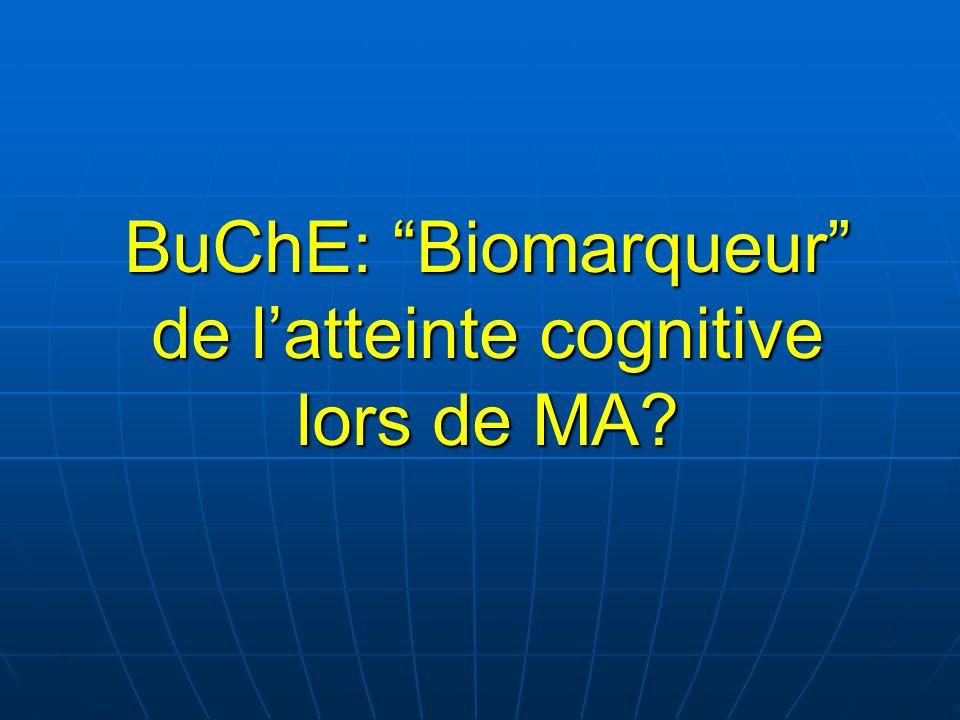 BuChE: Biomarqueur de l'atteinte cognitive lors de MA