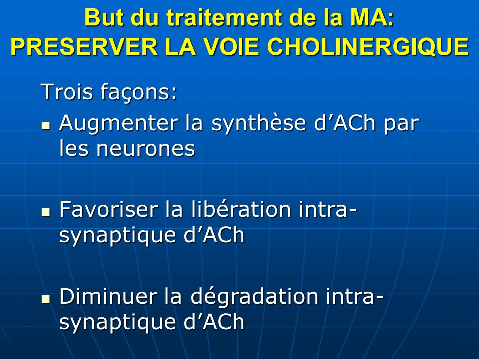 But du traitement de la MA: PRESERVER LA VOIE CHOLINERGIQUE