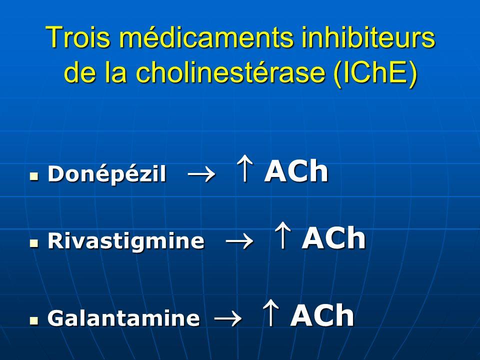 Trois médicaments inhibiteurs de la cholinestérase (IChE)