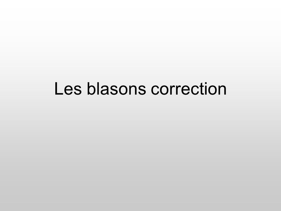 Les blasons correction