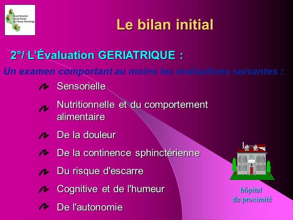 Le bilan initial 2°/ L'Évaluation GERIATRIQUE : Sensorielle