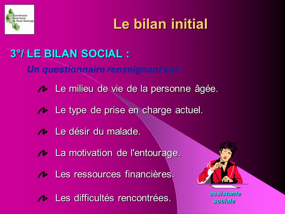 Le bilan initial 3°/ LE BILAN SOCIAL :