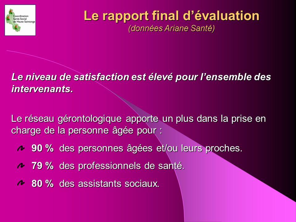 Le rapport final d'évaluation (données Ariane Santé)