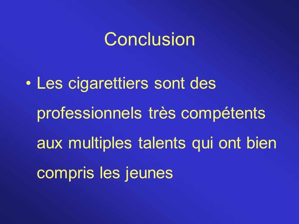 Conclusion Les cigarettiers sont des professionnels très compétents aux multiples talents qui ont bien compris les jeunes.