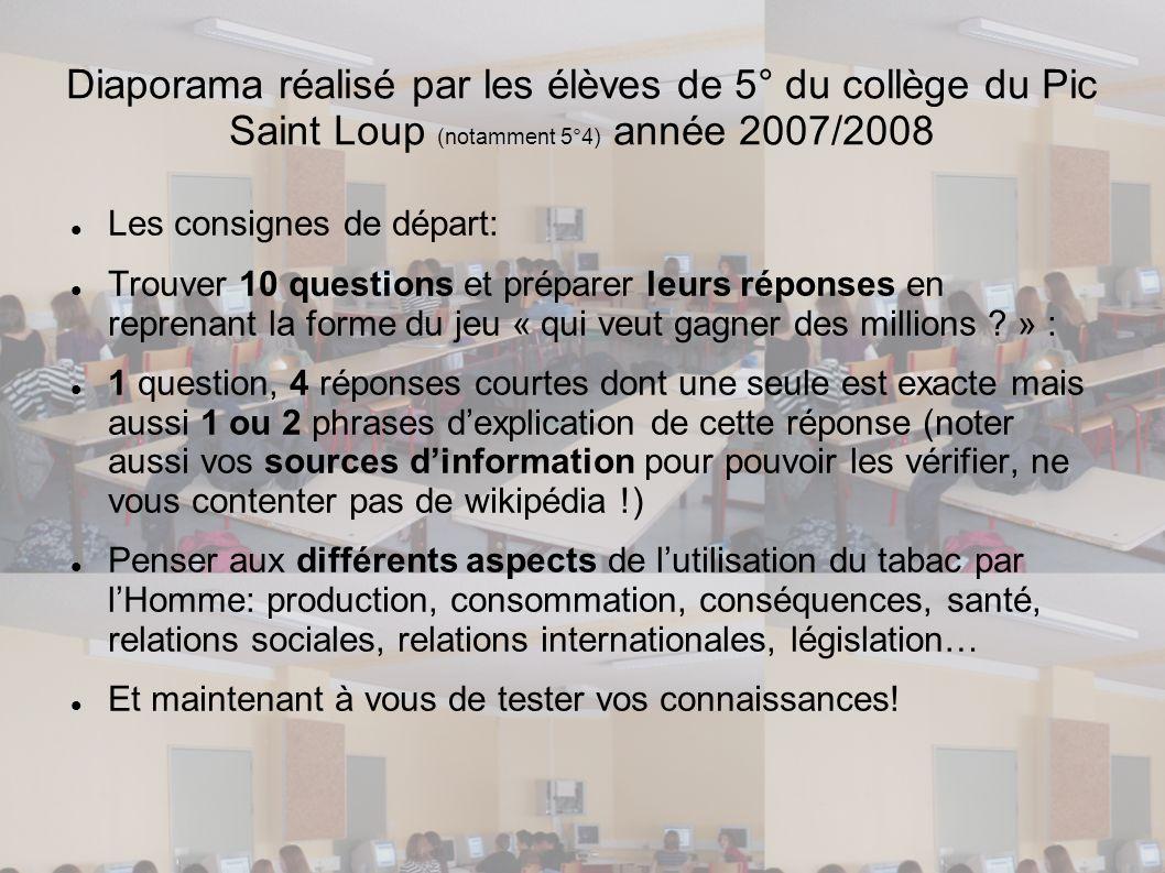 Diaporama réalisé par les élèves de 5° du collège du Pic Saint Loup (notamment 5°4) année 2007/2008
