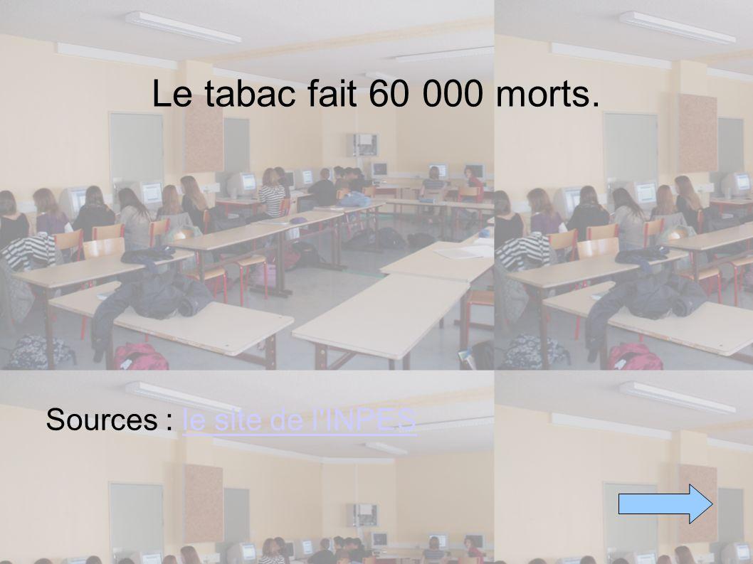 Le tabac fait 60 000 morts. Sources : le site de l INPES