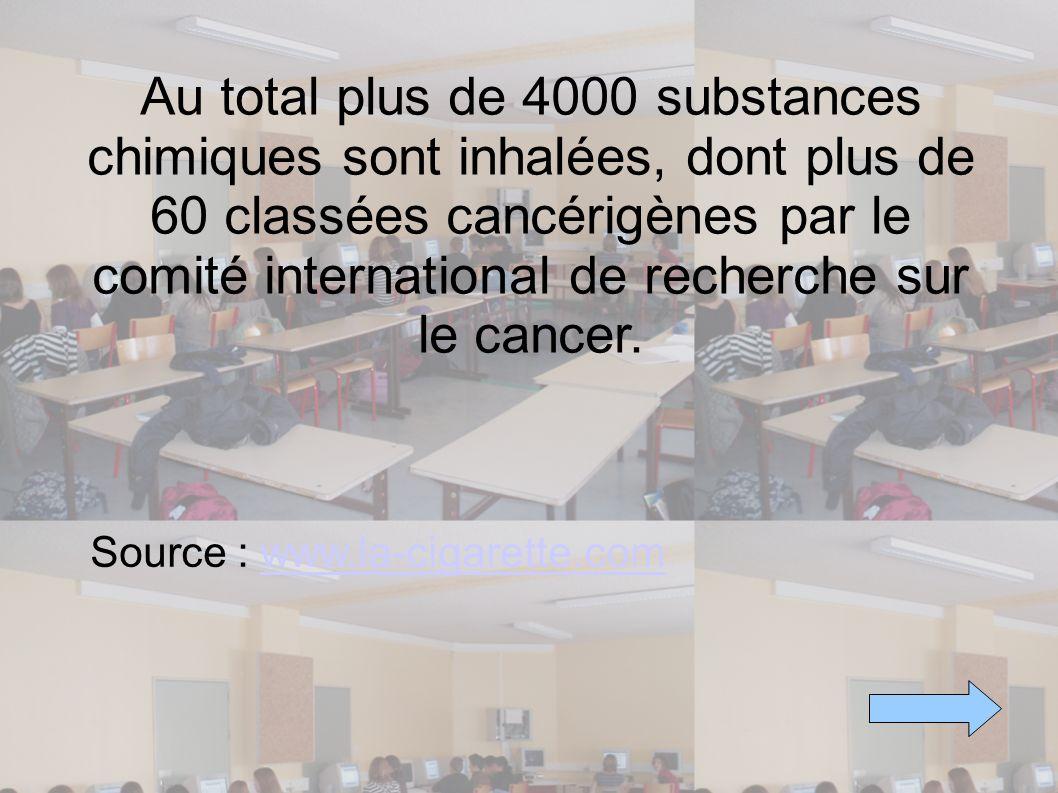 Au total plus de 4000 substances chimiques sont inhalées, dont plus de 60 classées cancérigènes par le comité international de recherche sur le cancer.