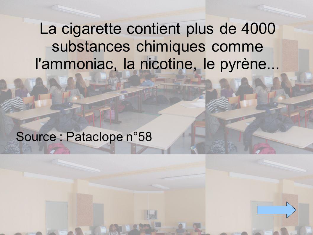 La cigarette contient plus de 4000 substances chimiques comme l ammoniac, la nicotine, le pyrène...