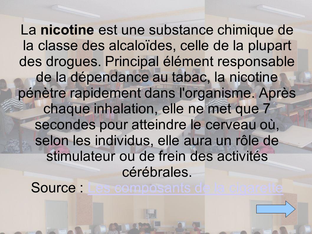 La nicotine est une substance chimique de la classe des alcaloïdes, celle de la plupart des drogues.