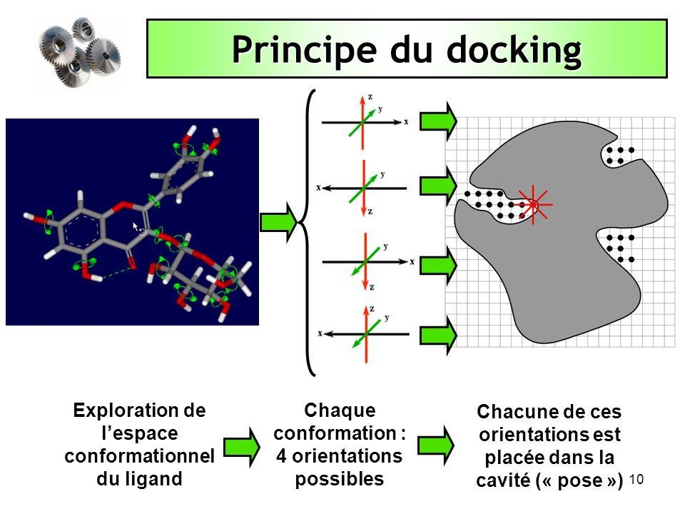 Principe du docking Exploration de l'espace conformationnel du ligand