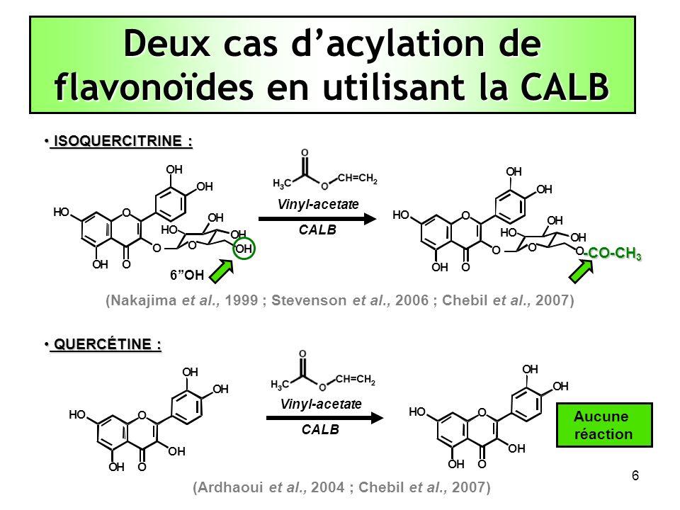 Deux cas d'acylation de flavonoïdes en utilisant la CALB