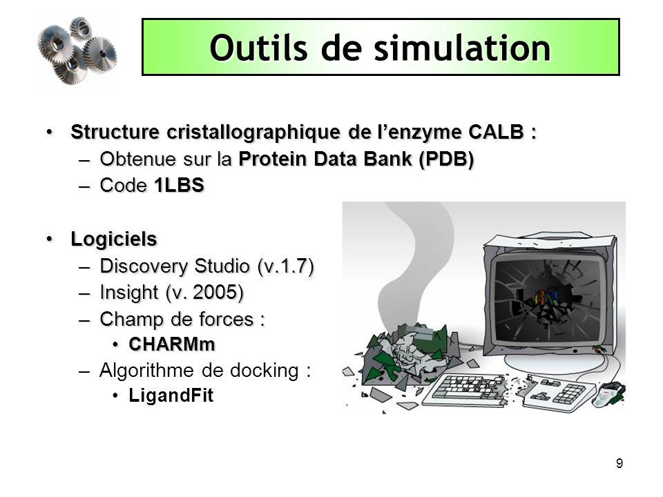 Outils de simulation Structure cristallographique de l'enzyme CALB :
