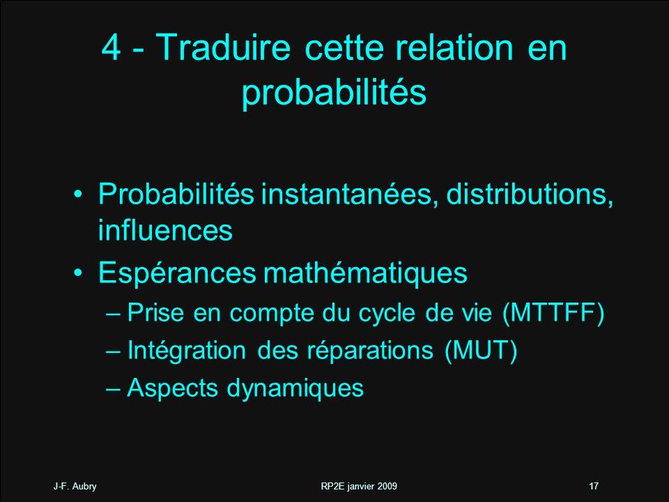 4 - Traduire cette relation en probabilités