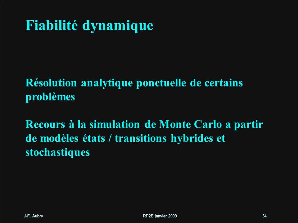 Fiabilité dynamique Résolution analytique ponctuelle de certains problèmes.