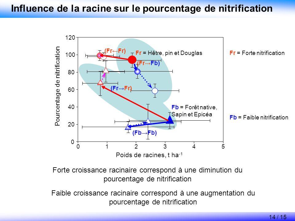 Influence de la racine sur le pourcentage de nitrification