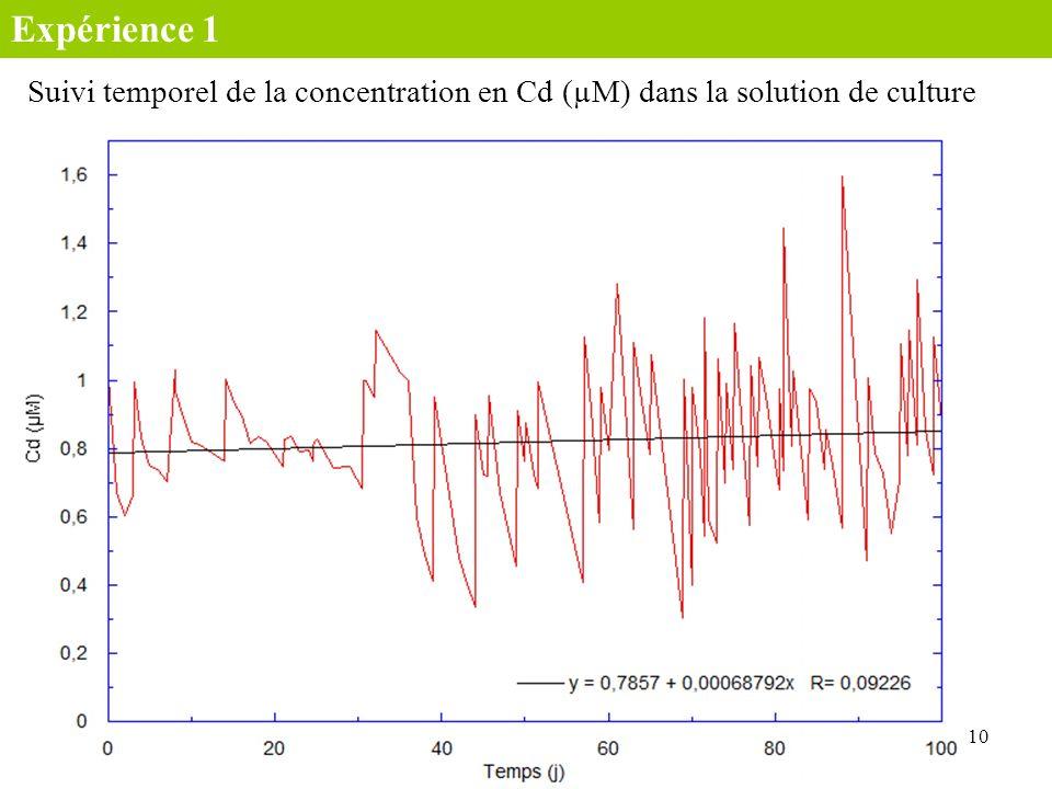 Expérience 1 Suivi temporel de la concentration en Cd (µM) dans la solution de culture