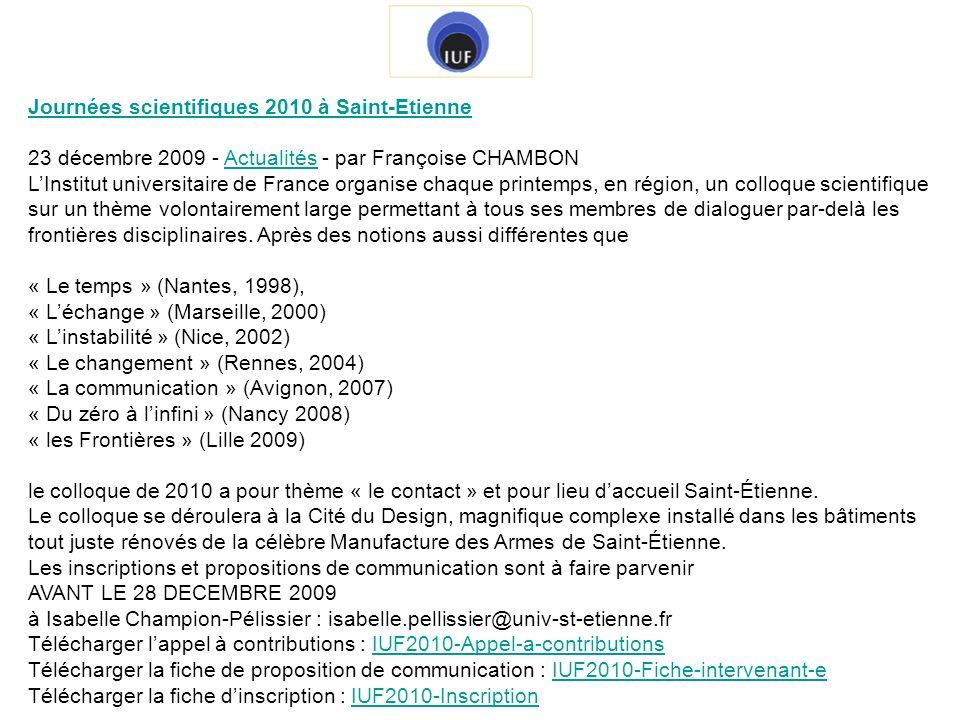 Journées scientifiques 2010 à Saint-Etienne