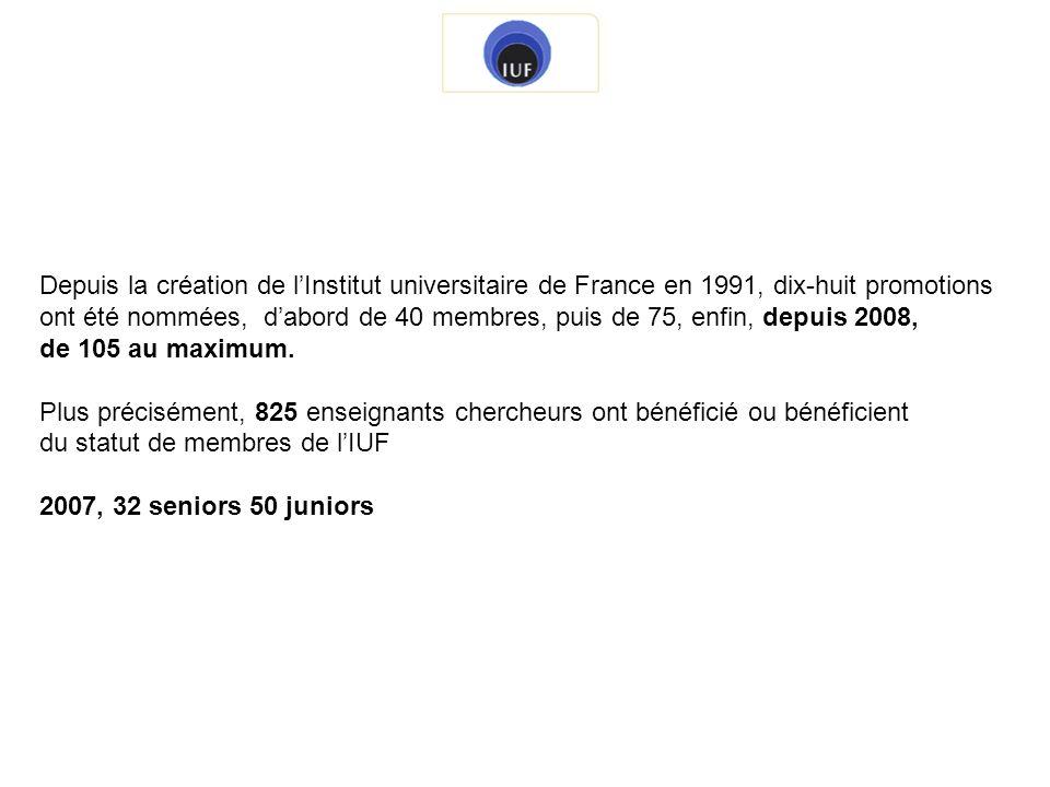 Depuis la création de l'Institut universitaire de France en 1991, dix-huit promotions