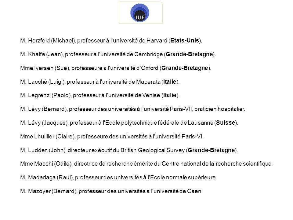 M. Herzfeld (Michael), professeur à l université de Harvard (Etats-Unis).