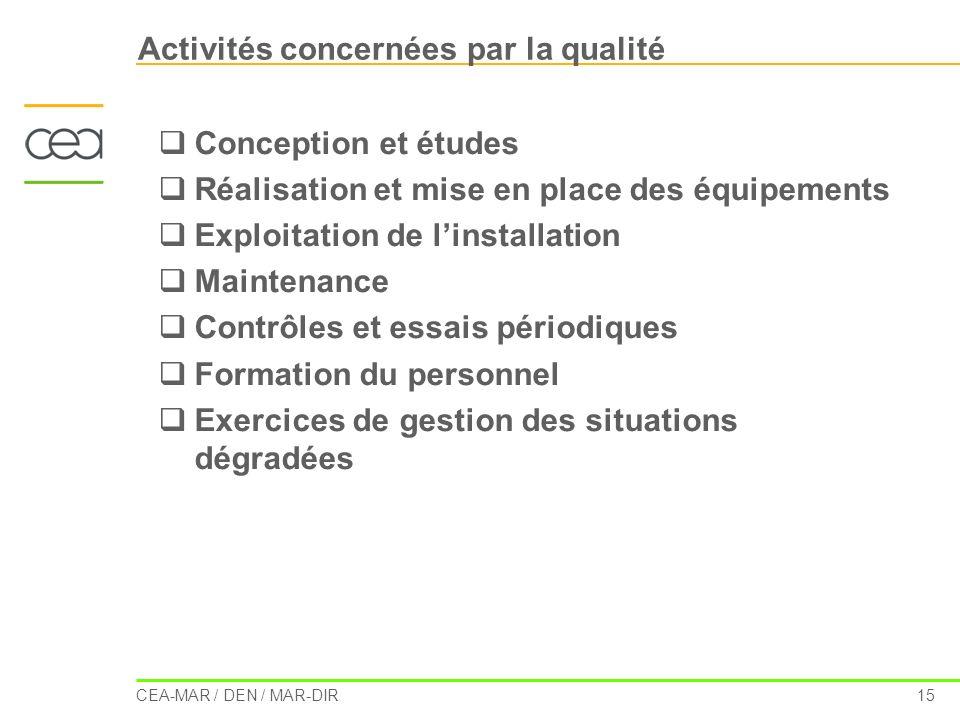 Activités concernées par la qualité