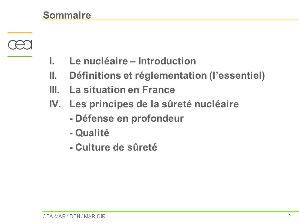 Sommaire Le nucléaire – Introduction. II. Définitions et réglementation (l'essentiel) III. La situation en France.