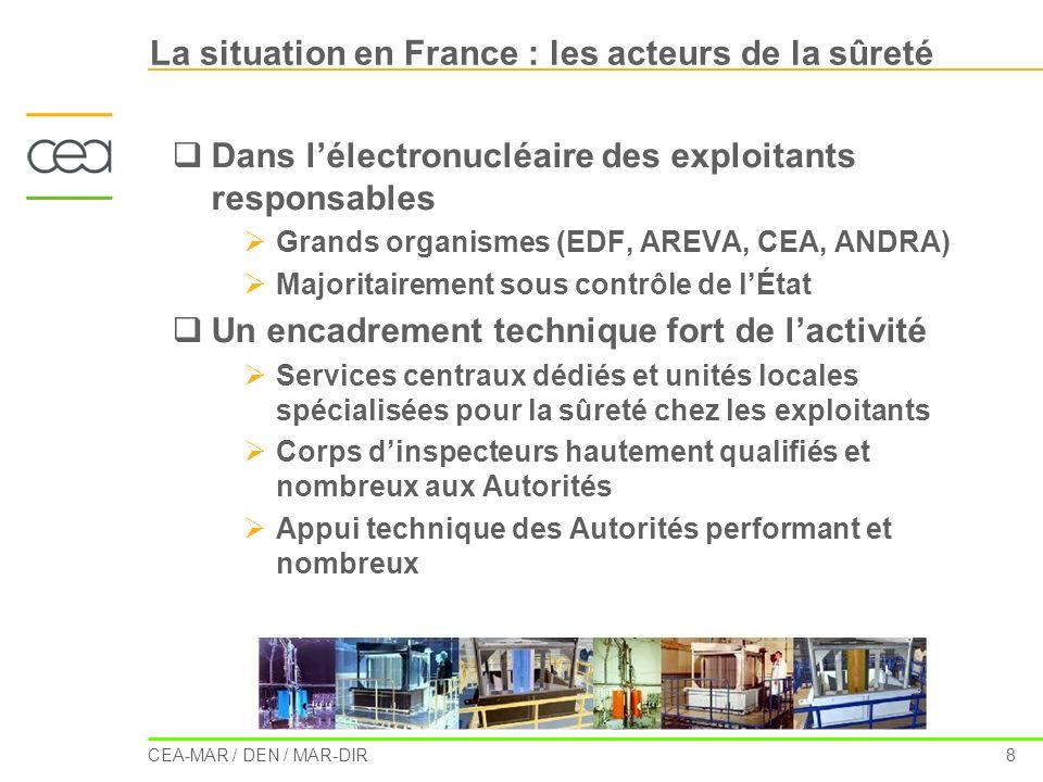 La situation en France : les acteurs de la sûreté