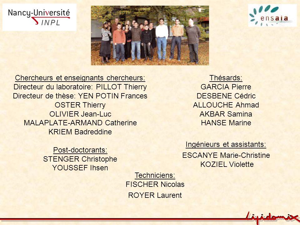 Ingénieurs et assistants: ESCANYE Marie-Christine KOZIEL Violette