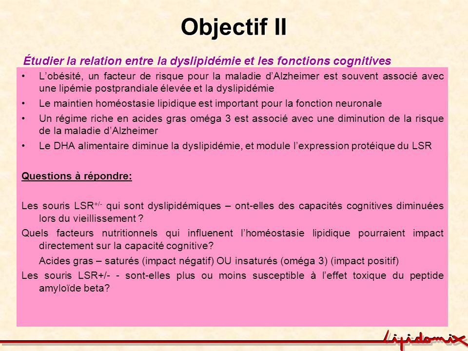 Objectif IIÉtudier la relation entre la dyslipidémie et les fonctions cognitives.