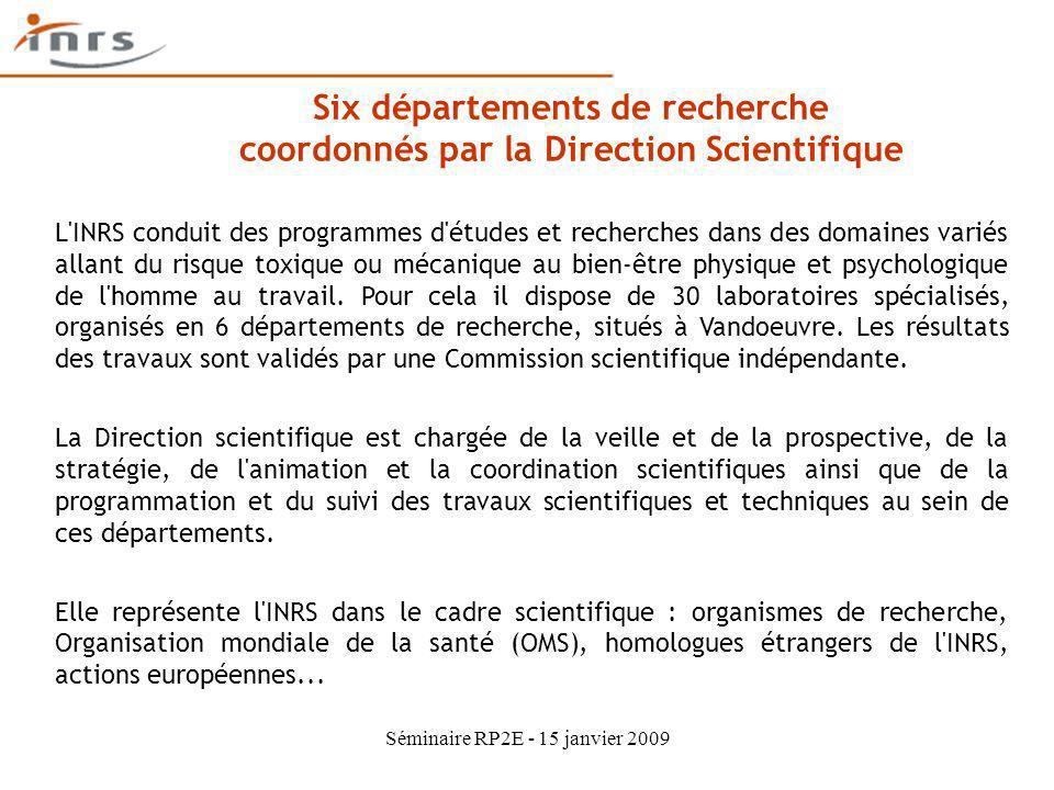 Six départements de recherche coordonnés par la Direction Scientifique