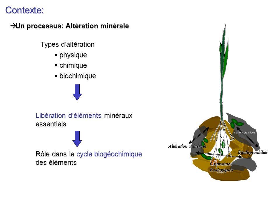 Contexte: Un processus: Altération minérale Types d'altération