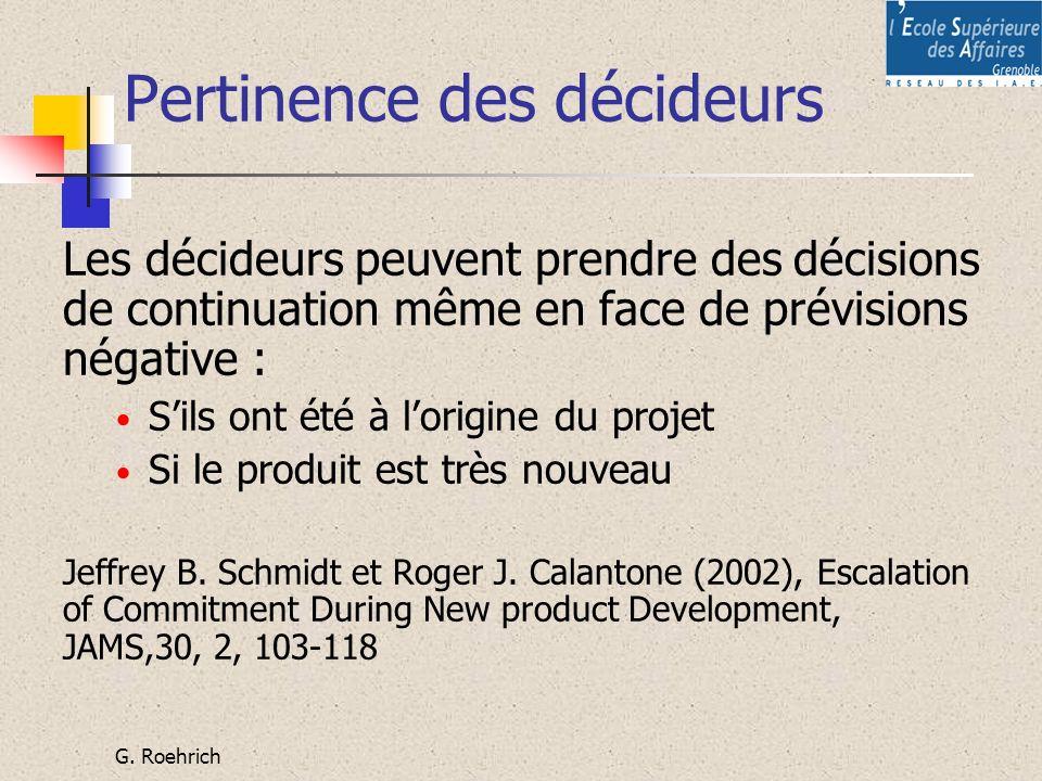 Pertinence des décideurs