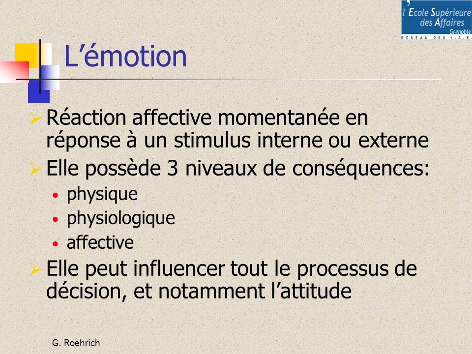 L'émotion Réaction affective momentanée en réponse à un stimulus interne ou externe. Elle possède 3 niveaux de conséquences: