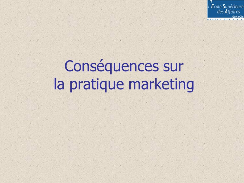 Conséquences sur la pratique marketing
