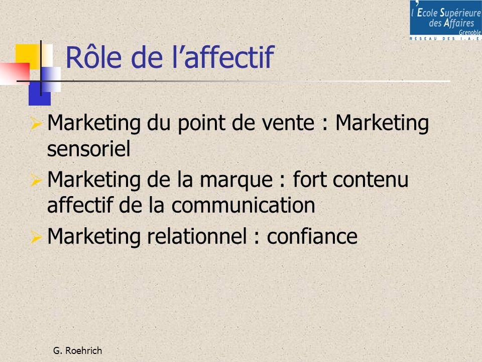 Rôle de l'affectif Marketing du point de vente : Marketing sensoriel
