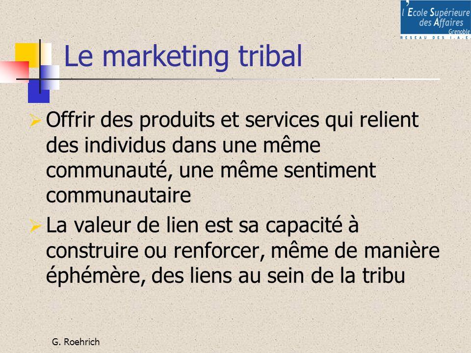 Le marketing tribal Offrir des produits et services qui relient des individus dans une même communauté, une même sentiment communautaire.