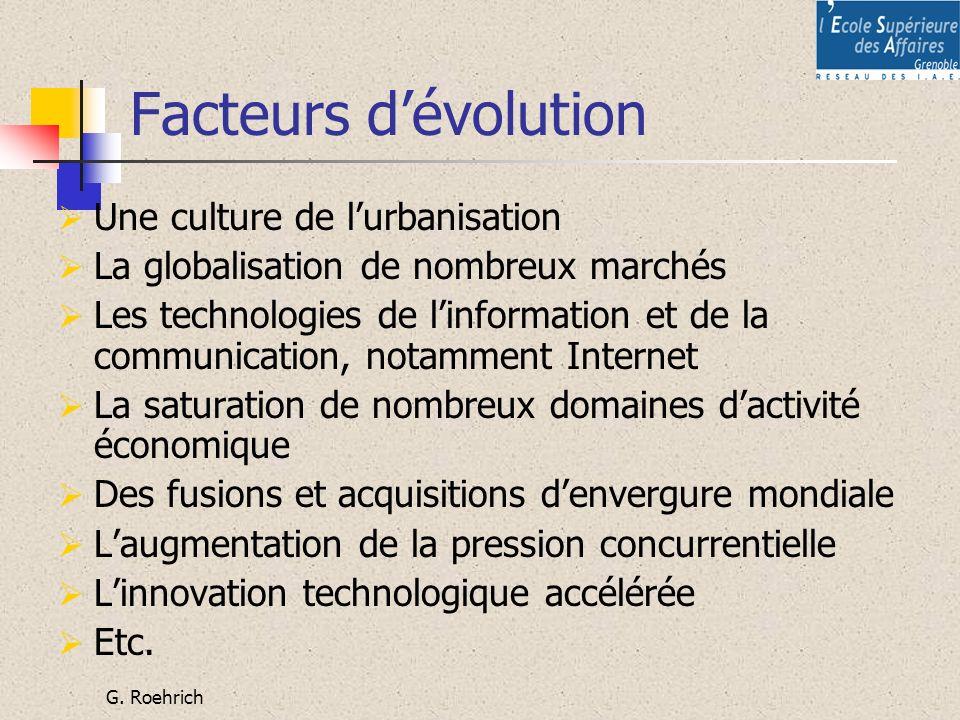 Facteurs d'évolution Une culture de l'urbanisation