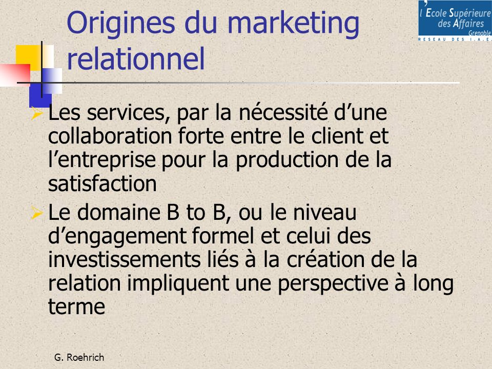 Origines du marketing relationnel