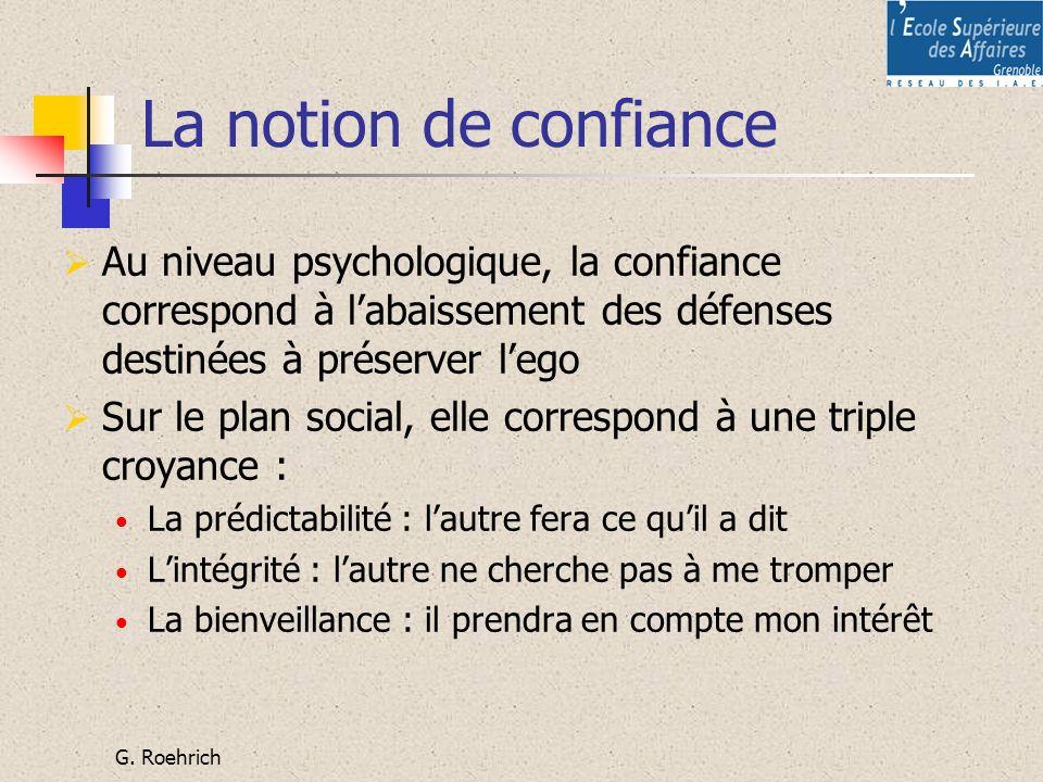 La notion de confiance Au niveau psychologique, la confiance correspond à l'abaissement des défenses destinées à préserver l'ego.