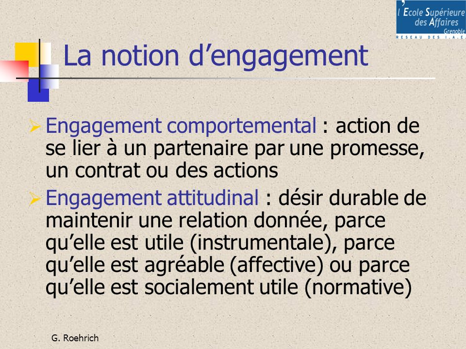 La notion d'engagement