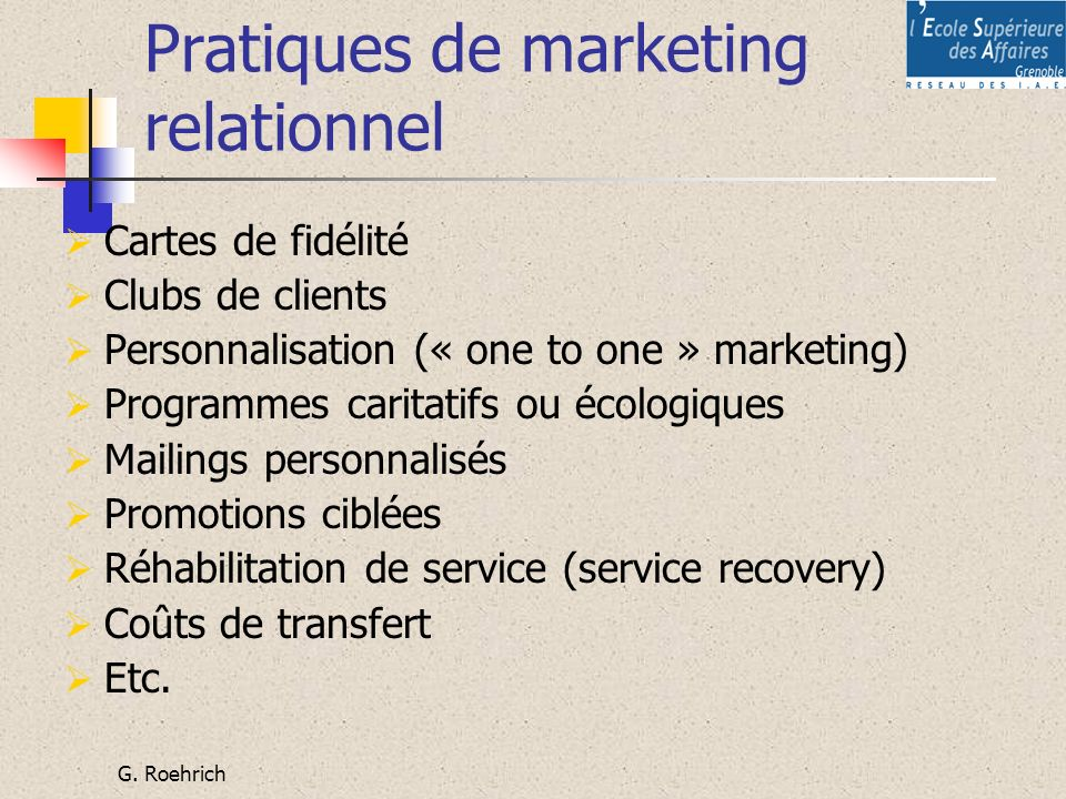 Pratiques de marketing relationnel