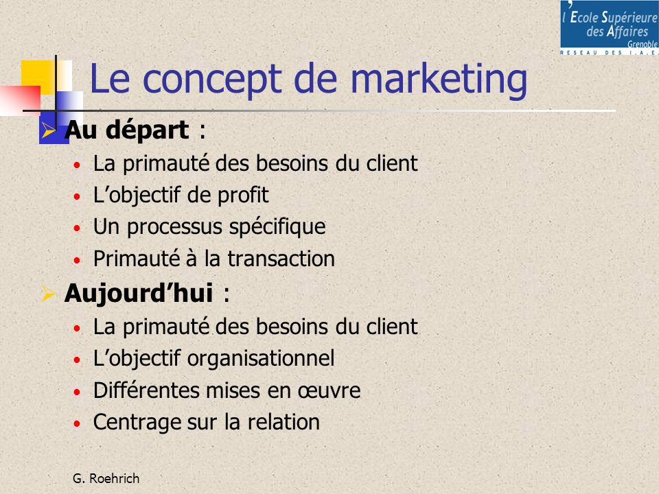 Le concept de marketing
