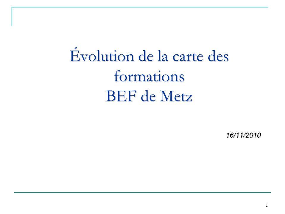 Évolution de la carte des formations BEF de Metz
