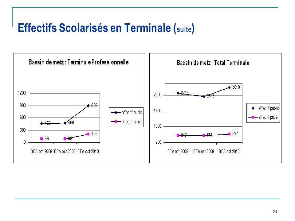 Effectifs Scolarisés en Terminale (suite)