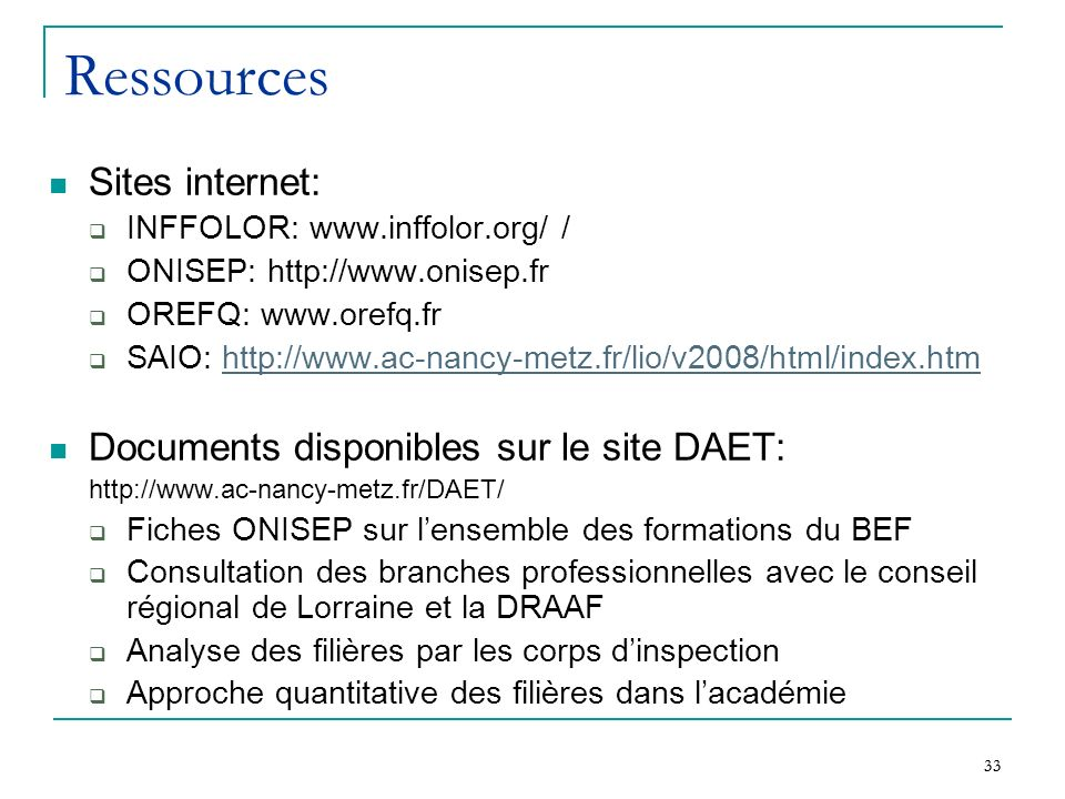 Ressources Sites internet: Documents disponibles sur le site DAET: