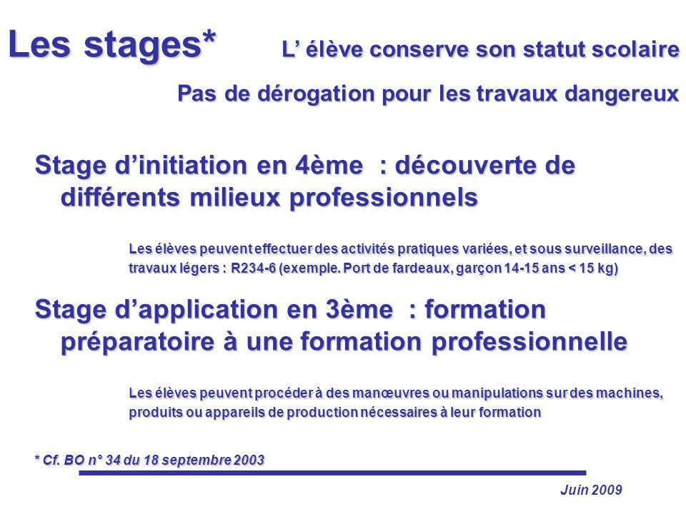 Les stages* L' élève conserve son statut scolaire