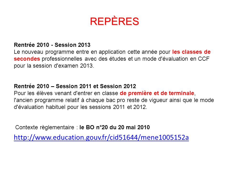 REPÈRES http://www.education.gouv.fr/cid51644/mene1005152a