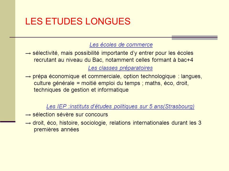 LES ETUDES LONGUES